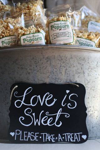 Popcorn Bar and Wedding Favors in one adorable vintage tin pail with a custom, hand-lettered. The perfect addition to your rustic, shabby chic wedding reception.