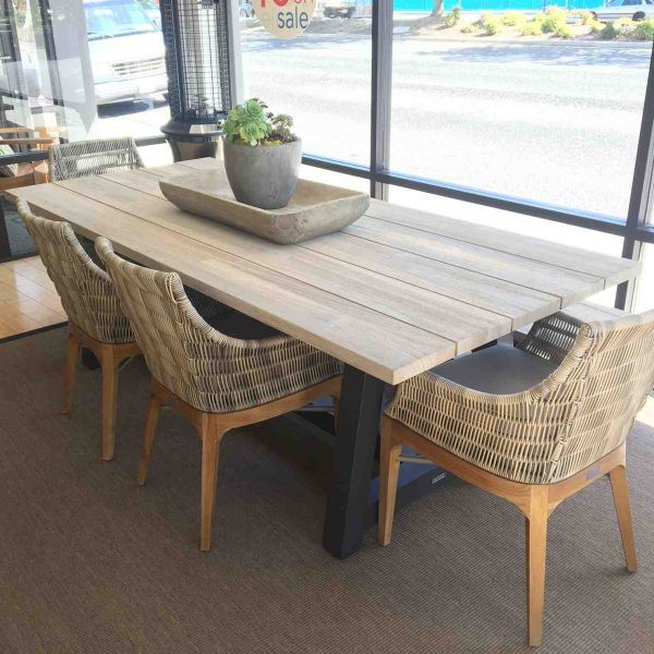 New   Madera Beam Table Charcoal Base With Grey Teak   Terra Patio