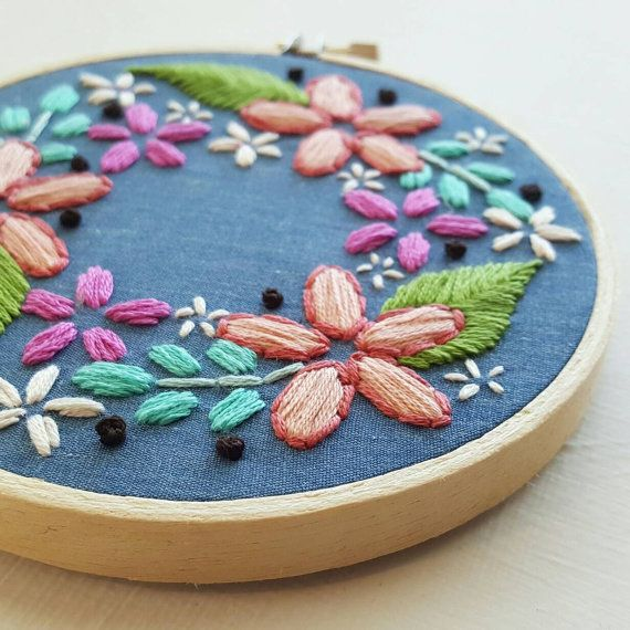 Hand Embroidery Wall Hanging Floral Wreath by NamasteEmbroidery