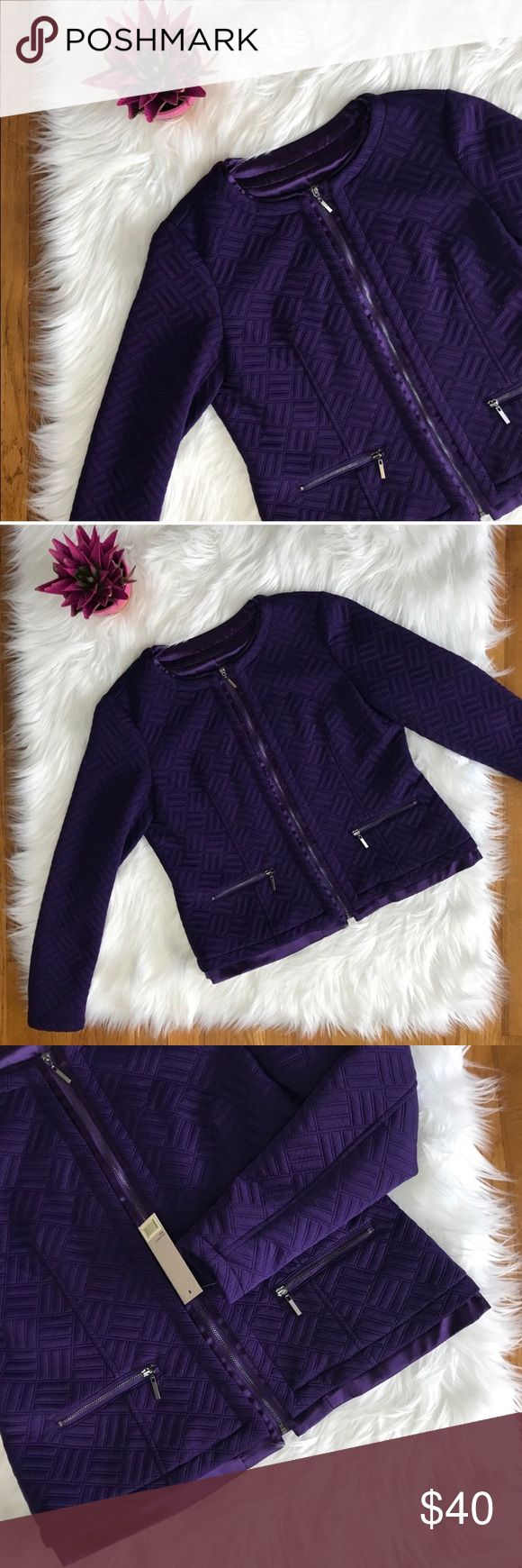 """Laura Ashley Purple Quilted Blazer NWT Laura Ashley Purple Quilted Blazer NWT  96% Polyester 4% Spandex  Fiber Fill: 100% Polyester  Lining & Trim: 100% Polyester  Dry Clean  Approximately: 22"""" Long 19"""" Pit to pit 23"""" Sleeves 16"""" Shoulder Laura Ashley Jackets & Coats Blazers"""