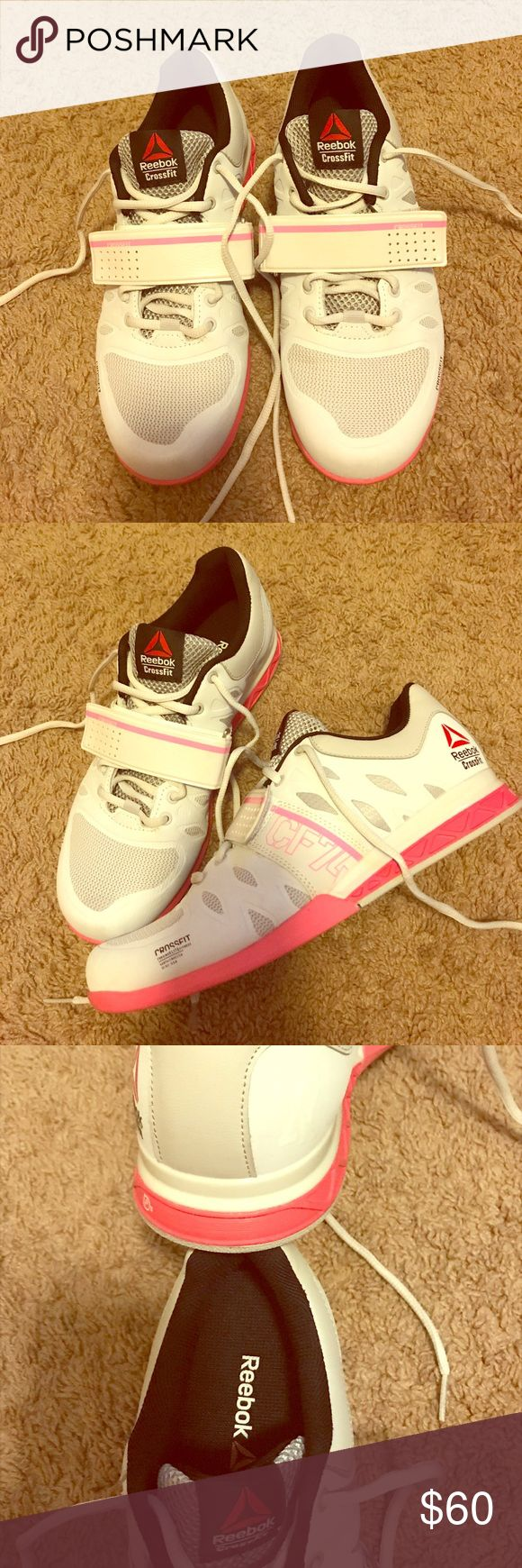 Reebok crossfit sz 9 lifting shoe white pink White pink Reebok Crossfit lifting shoes. Size 9. In very good condition, worn 3 times, then couldn't wear them anymore due to an injury. This is why I am selling them I won't be able to wear them anymore. I really liked these they aren't too clunky like some other lifting shoes. They are light and not stiff, give your foot stability and you feel grounded but you can still run in them if needed. Run true to size. With velcro strap for additional…