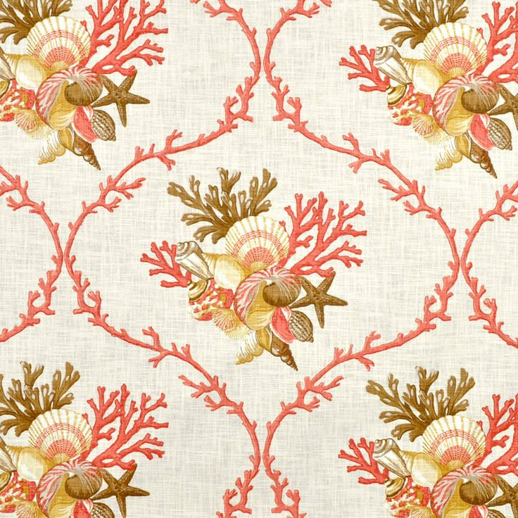 Duralee Sheldon Coral Fabric.