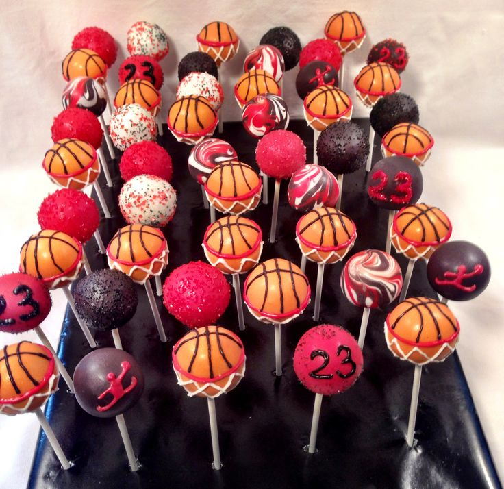 Michael Jordan themed cake pops By blakers dozen