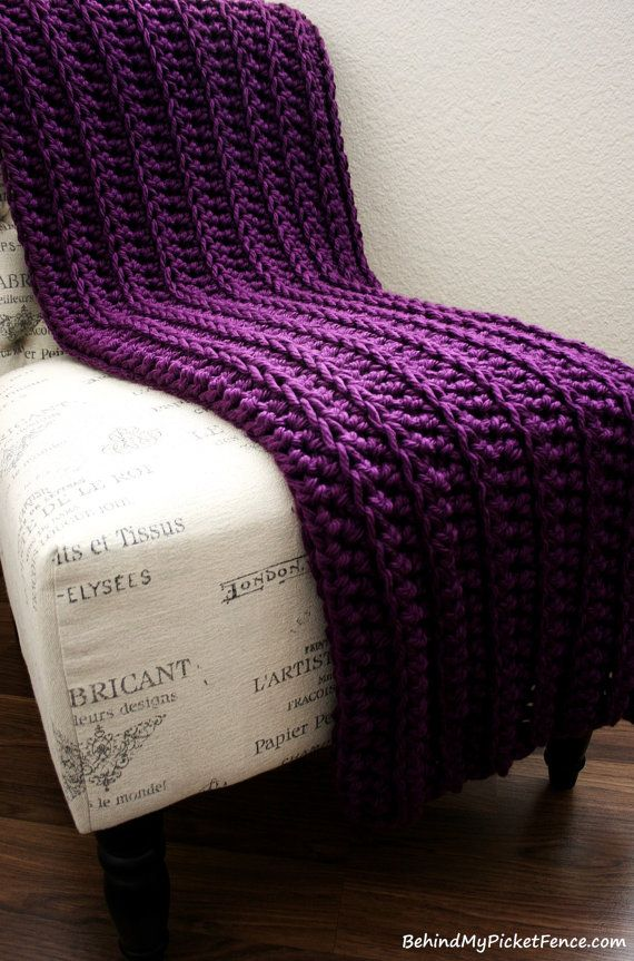 WEST BAY THROW in Purple, soft warm by BehindMyPicketFence