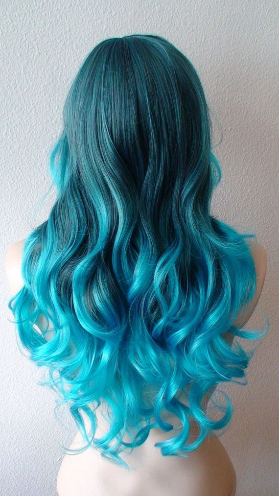 Turquoise blue ombre wig. Long curly hair long side bangs Durable Heat resistant synthetic wig for daily use or cosplay..