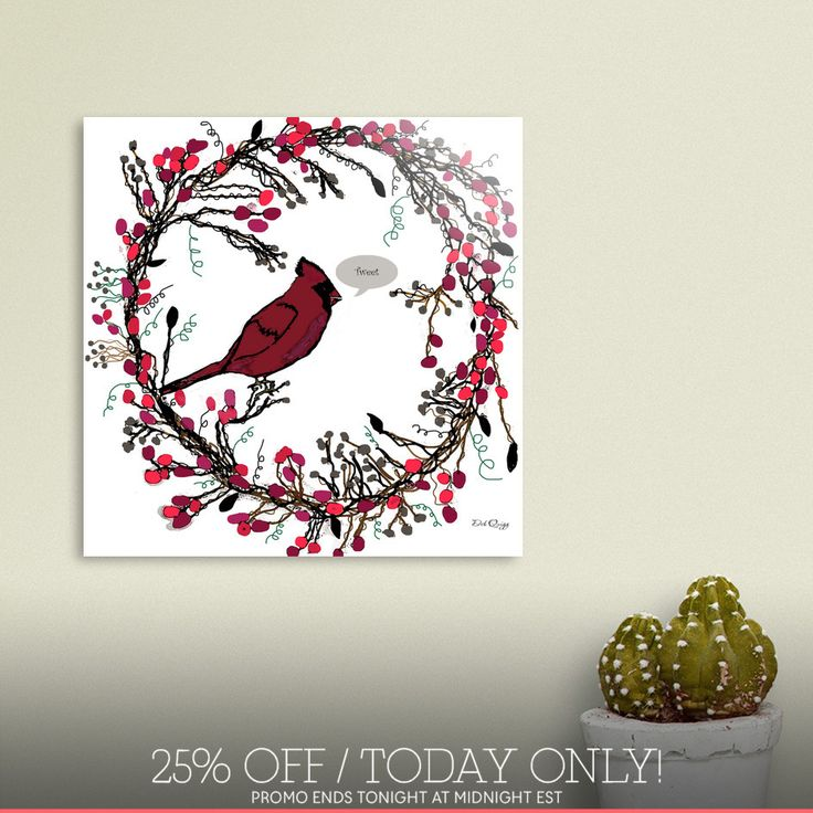Discover «Winter Wreath and Cardinal», Limited Edition Acrylic Glass Print by Deb Quigg - From $99 - Curioos