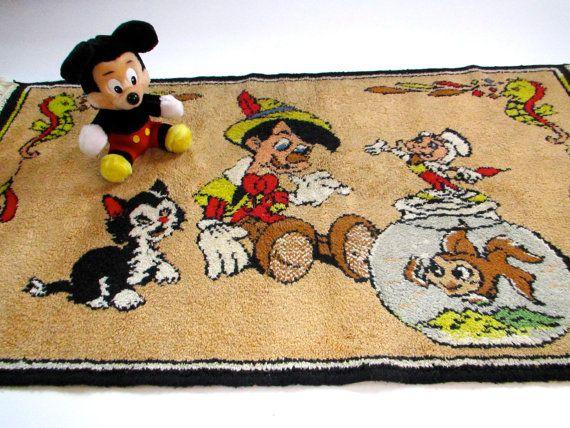 Vintage Disney Rug Tapestry Pinocchio Circa 1940u0027s By LeTerreVerte, $48.00
