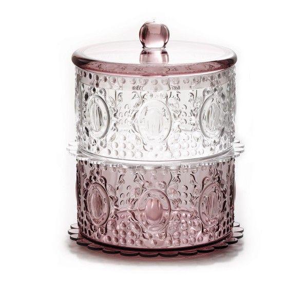 """Collezione """"home"""". Porta bon bon doppio in plexiglas barocco trasparente e rosa, disponibile anche in altri molti colori."""