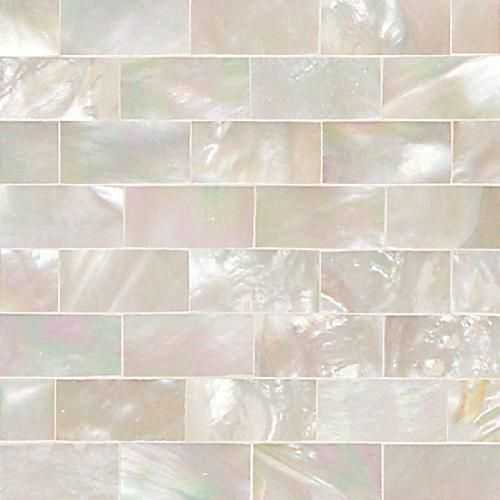 Daltile - Small rectangular Mother of Pearl wall tile in a running bond / brick / offset pattern