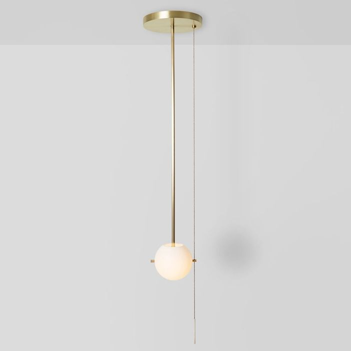 Gidu Mid Century Modern Pull Chain Pendant Light Globe Pendant Pull Chain Light Fixture In Gold Pull Chain Light Fixture