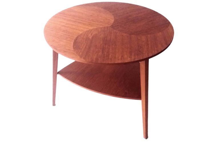 Round coffe table in teak with extra shelf by CopenRetro on Etsy