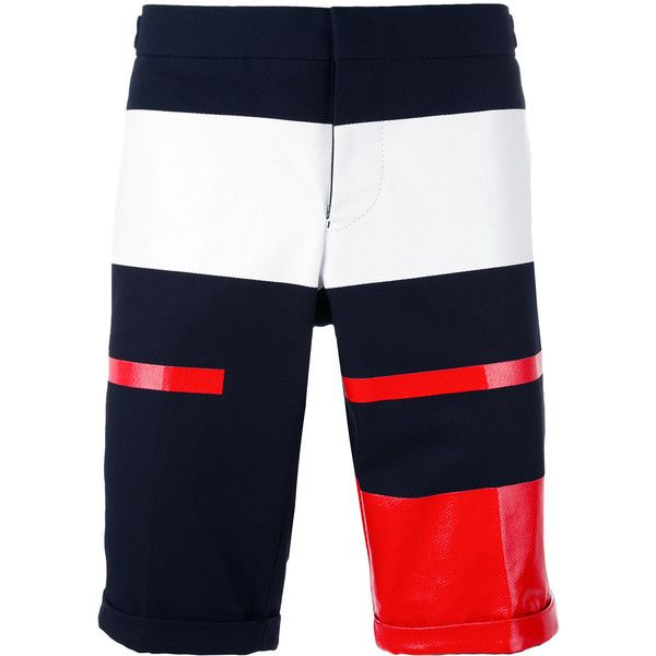 Thom Browne block panel chino shorts ($1,201) ❤ liked on Polyvore featuring men's fashion, men's clothing, men's shorts, blue, mens slim fit shorts, mens summer shorts, mens blue chino shorts, mens blue shorts and mens slim fit chino shorts