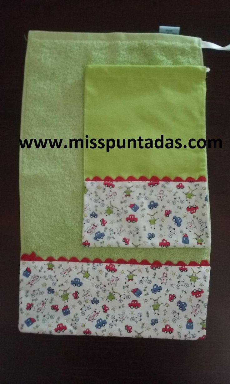 Toalla escolar y bolsa de merienda. Toalla escolar  Medidas 50 cm. x 30 cm.  Toallas 100% algodón  Bolsa de merienda 20 x 30cm.  Producto hecho en España.