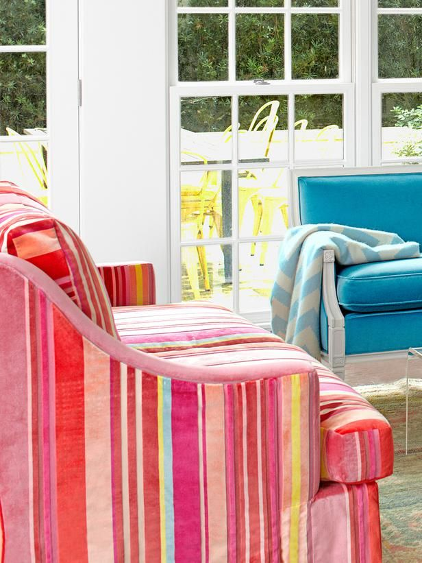 Brighten up any space with color! Don't be afraid. #HGTVMagazine http://www.hgtv.com/color/fun-new-decorating-ideas/pictures/index.html?soc=pinterest: Velvet Fabrics, Stripes Sofas, Three Years, Decor Ideas, Baileys Held, Decorating Ideas, Colors, Color Couch, Photo