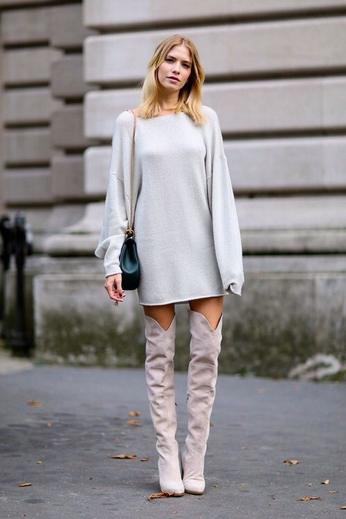 Grey thigh high suede boots