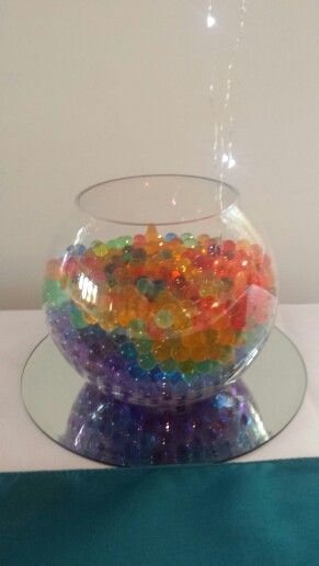 Fishbowl with water beads. LED lights in bottom