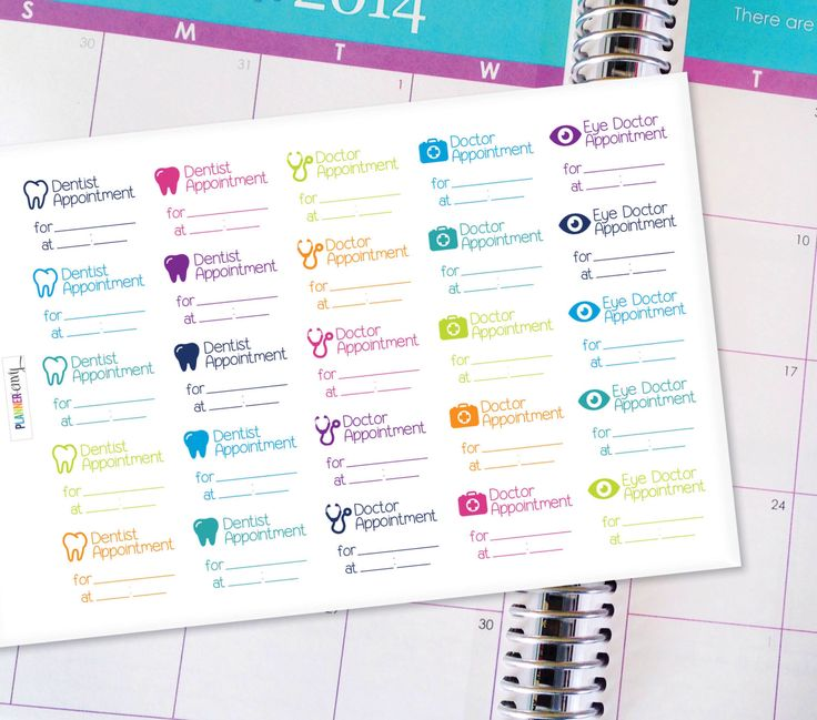 Appointment Planner Stickers Erin Condren Life Planner (ECLP) - 25 Doctor and Dentist Appointment Stickers (#3000) by PlannerEnvy on Etsy https://www.etsy.com/listing/252565350/appointment-planner-stickers-erin