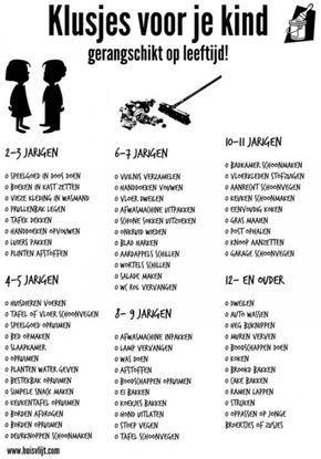 Handig om te weten welke klusjes je kind op welke leeftijd kan doen.