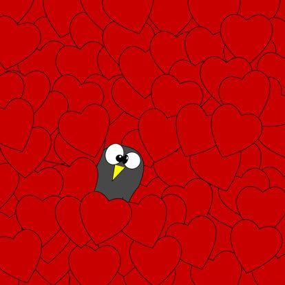 Valentijnskaart hartjes pinguin - Valentijnskaarten - Kaartje2go
