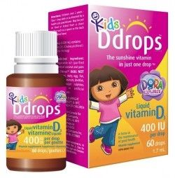 "Ddrops Kids ""Dora"" Vitamin D 400 IU: Kids Ddrops™ is a liquid vitamin D designed specifically for children 2 years and older. Only 1 drop is required to provide the full daily dose, making it a convenient and easy way to give the Vitamin D that your child requires."