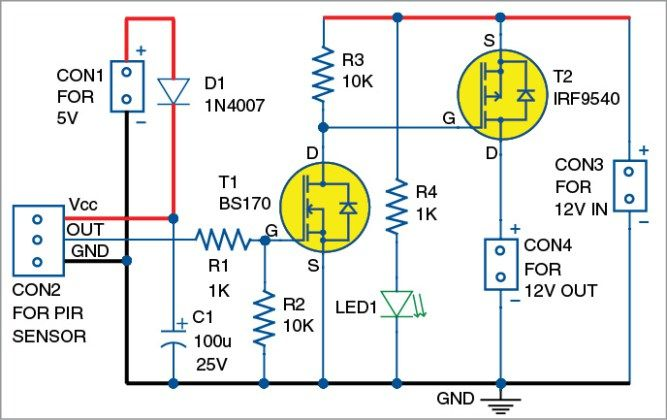 This circuit is designed for use with all kinds of medium-power automobile/domestic 12V DC loads. It is a simple solid-state relay (SSR) switch, controlled by a standard passive infrared (PIR) moti…
