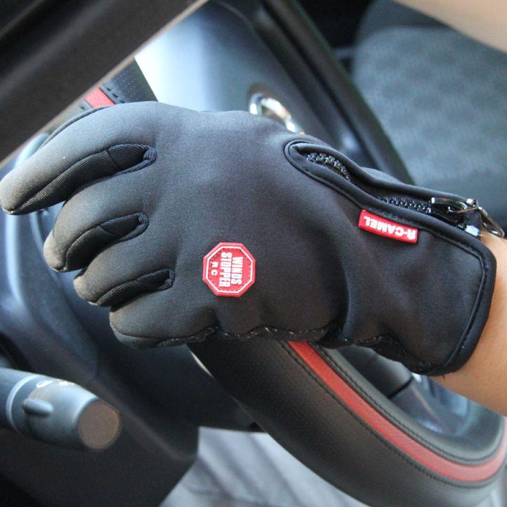 Pantalla Táctil a prueba de agua Al Aire Libre Deportes Guantes Windstopper Ciclismo Negro Bicicleta de La Motocicleta Dedo Largo Más Tamaño Hombres Mujeres Rojo