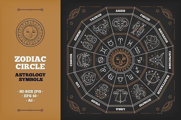 Zodiac circle with horoscope signs by painterr on @creativemarket