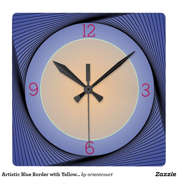 Artistic Blue Border with Yellow centre Wall Clock