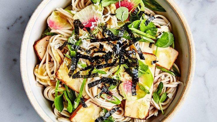 Soba with Tofu and Miso-Mustard Dressing | Bon Appetit Recipe