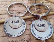 His And Hers Matching S 10 Year Anniversary Custom Hand Stamped Dime Keychains Personalized Gift For Him Her Wedding Date