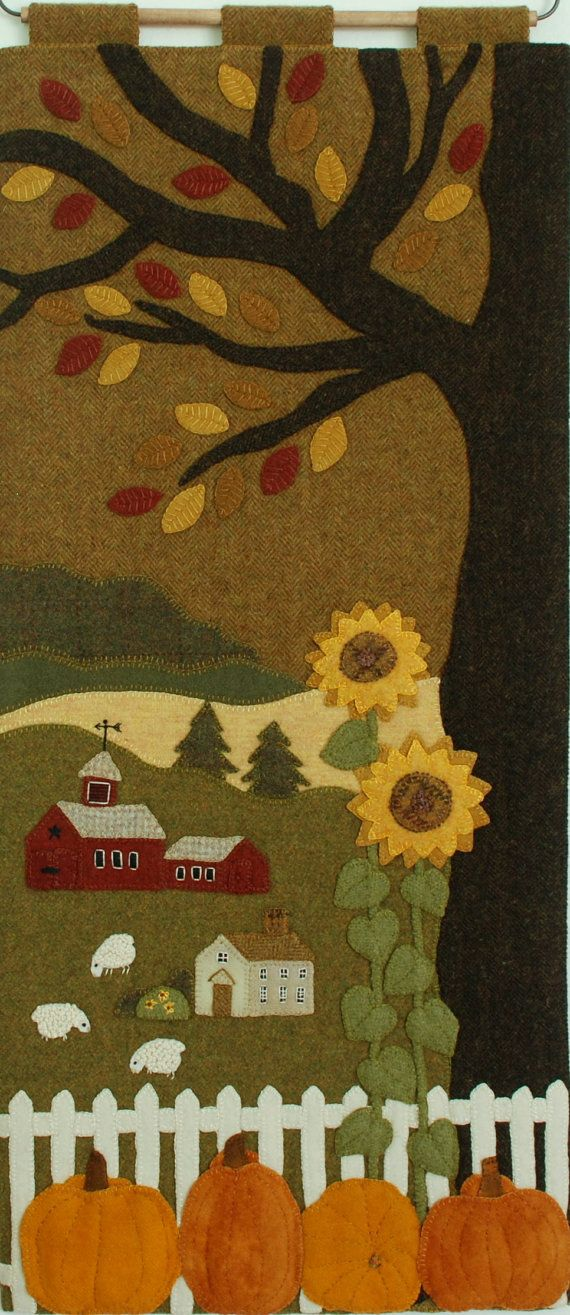 Wool applique PATTERN pumpkins wall by HorseAndBuggyCountry