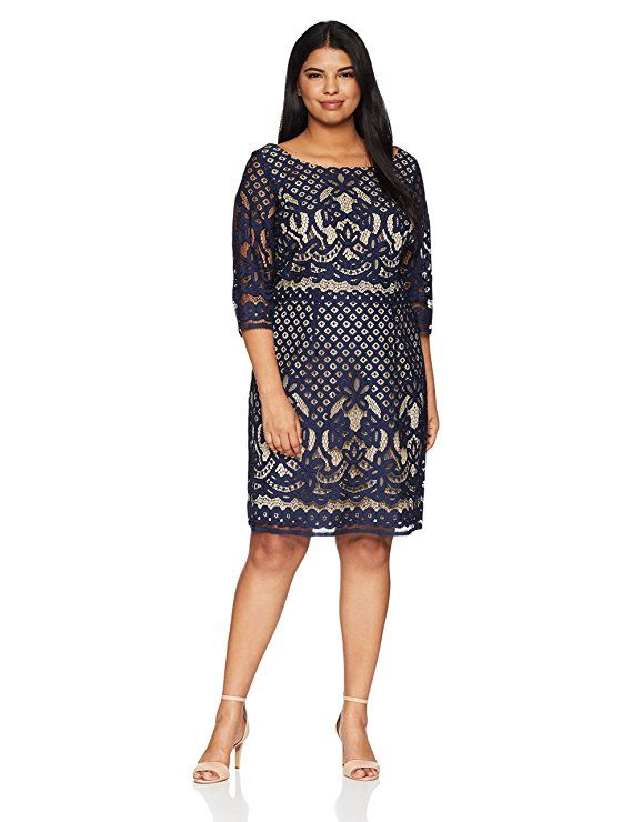 3c04900d3fc Gabby Skye Women s Plus Size Long Sleeved Crochet Lace Fit and Flare Dress
