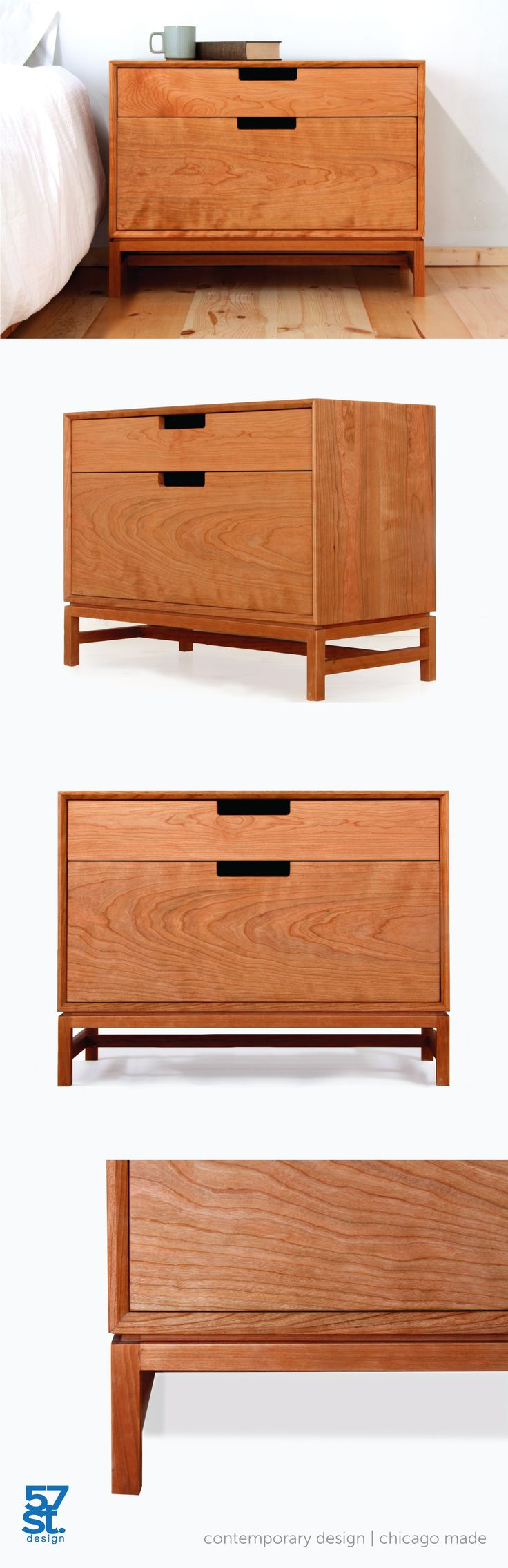 Inspired by Mid-century Modern design, the Forde Nighstand is a simple, carefully crafted nightstand with real functional value. With a single drawer on top and a compartment with a flip-down door for general storage below. In solid, American cherry with a Danish oil and wax finish. Proudly made in Chicago.