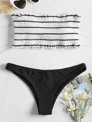 571a1494aba62 Striped Smocked Bandeau Bikini Set - Black M
