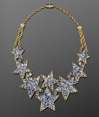 Sapphire and Diamond Star Motif Necklace, circa 1960s