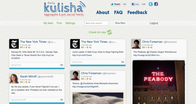 Kulisha, a Pinterest for social commentary.