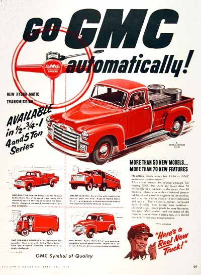 1954 GMC Pickup Trucks original vintage advertisement. Illustrated in one tone color. Also features the GMC 1 Ton pickup, GMC M450 Tanker, GMC Forward Metro Delivery Van and GMC Panel Delivery Van.