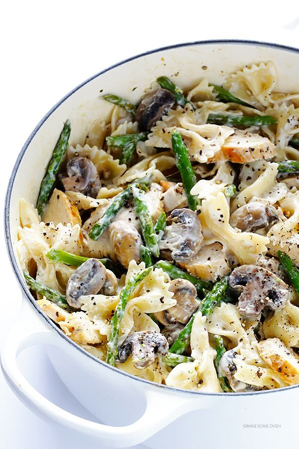 Pasta with Goat Cheese, Chicken, Asparagus & Mushrooms | http://gimmesomeoven.com