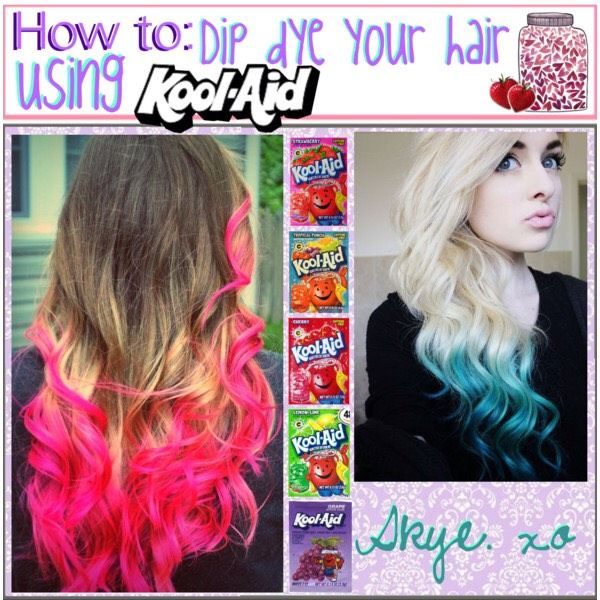 Dye Your Hair With Kool-AidAll you need is: -1 cup water -2 packages of the Kool-aid colour of your choiceBoil the water then let take it off the stove and pour the Kool-aid packs in the liquidLet it cool for 45 seconds before dipping your hair in 15 minutesAnd that's it! It should stay in for about a month. It might stay in longer depending on your hair typeLike and follow me for more tips