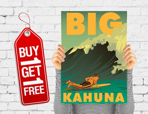 Playa cartel retro beach vintage impresión de diseño, tabla de surf cartel ondas retro mar diseño playa publicidad vintage cartel Big Kahuna (1037)