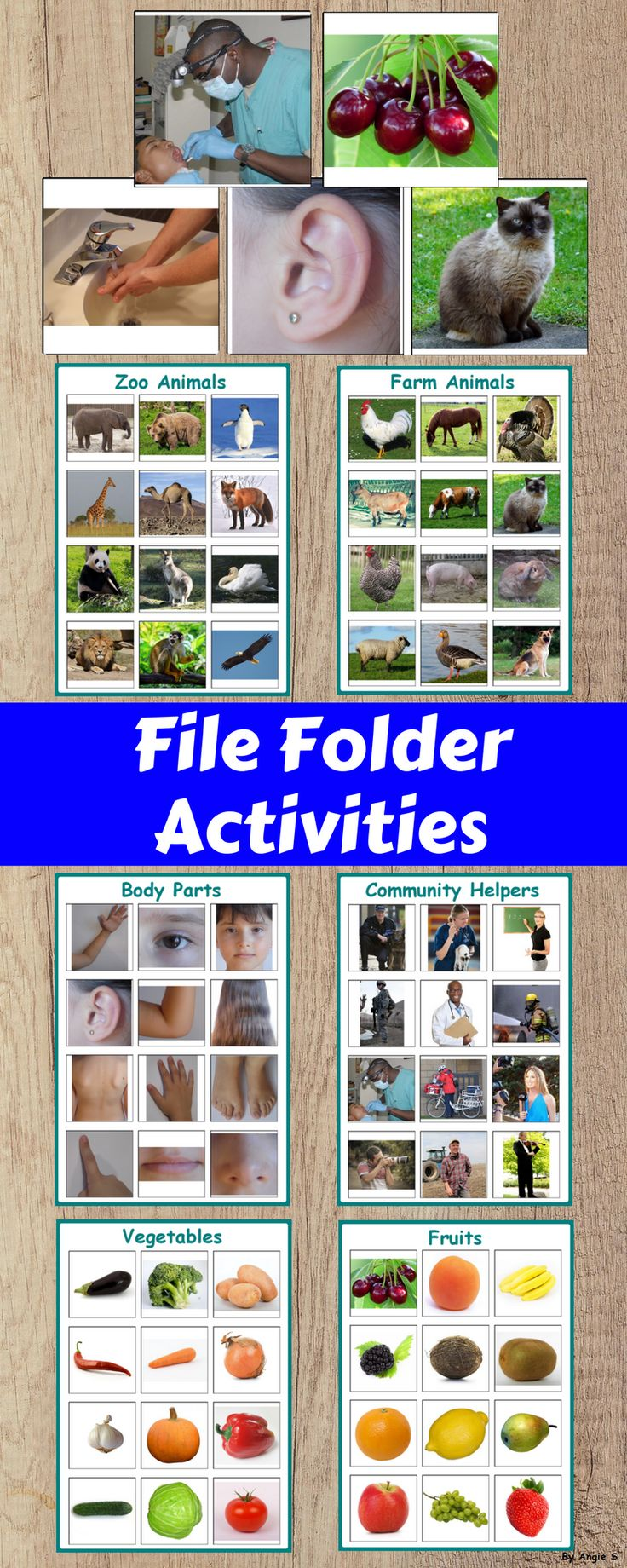 File Folder Activity for Special Education, Autism, TEACCH, ABA, OT and speech therapy. The printables use real life pictures for better understanding of the meaning of the words whole learning vocabulary. #autism #esl #vocabulary #ABA #sped