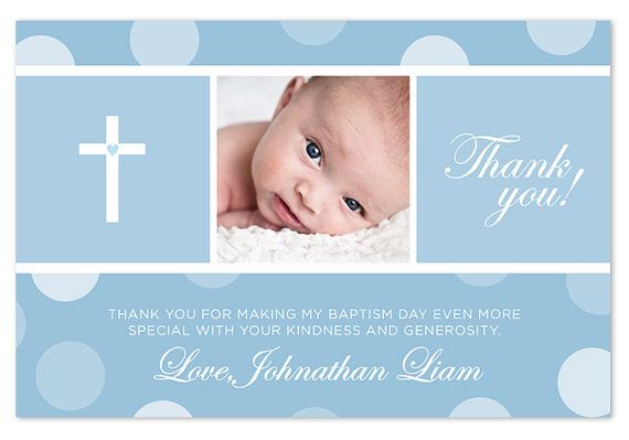 Baptism Christening Thank You Card Blue Pink By Paperheartsbyj 15 50 Cards
