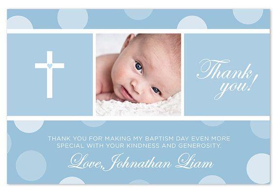 Baptism christening thank you card polka dots for Baptism thank you card template
