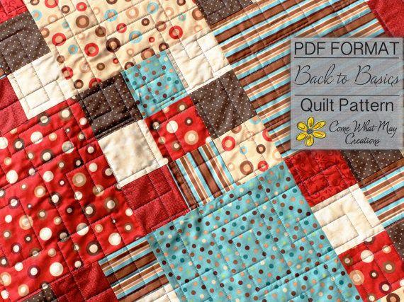Nine Patch Baby Quilt Pattern, Fat Quarter Quilt Pattern, Back to Basics, Lap Quilt Pattern ...