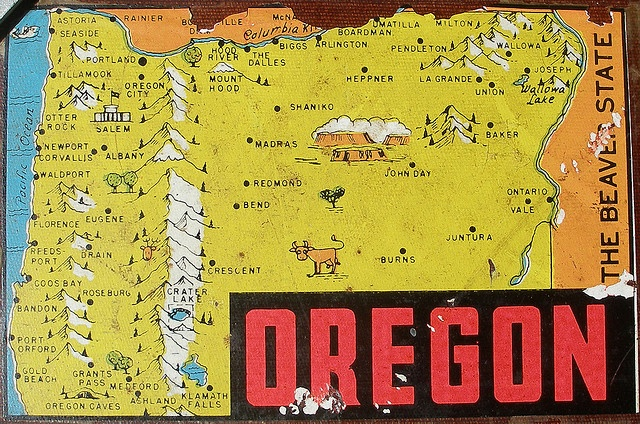 Old Oregon map. Very cool.