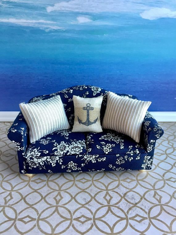 Surprising Spielzeug Blue White Striped Sofa Chair Doll House Andrewgaddart Wooden Chair Designs For Living Room Andrewgaddartcom