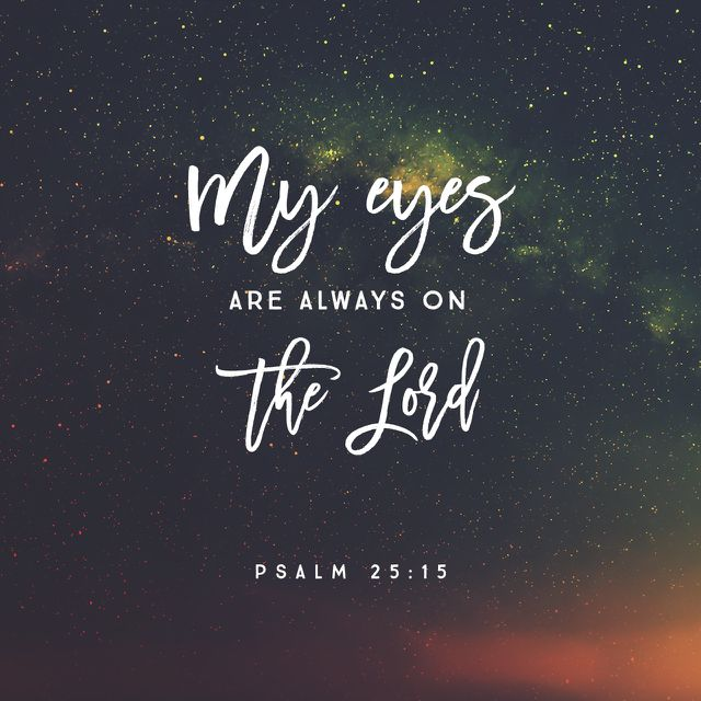 My eyes are ever toward the Lord, for he will pluck my feet out of the net. Psalms‬ ‭25‬:‭15‬