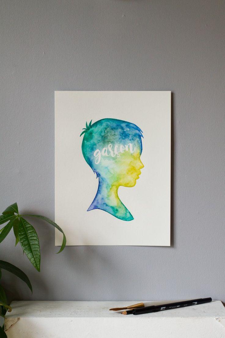 Illustration à l'aquarelle, silhouette de garçon.