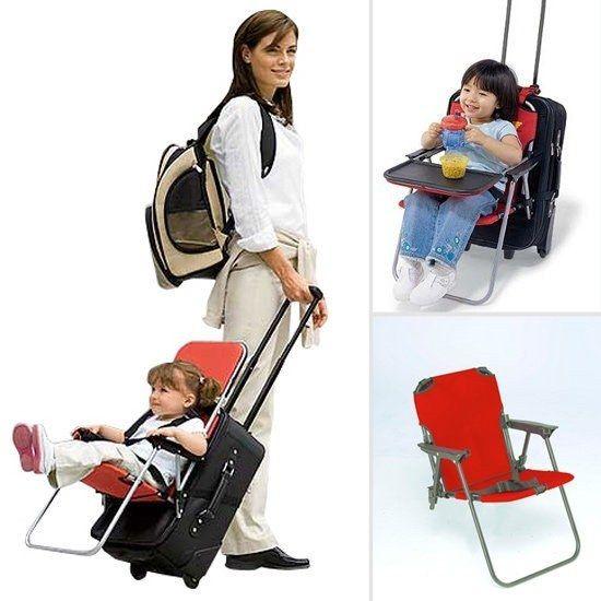 Esta cadeira acoplável à bagagem tornará o deslocamento pelo aeroporto mais fácil.
