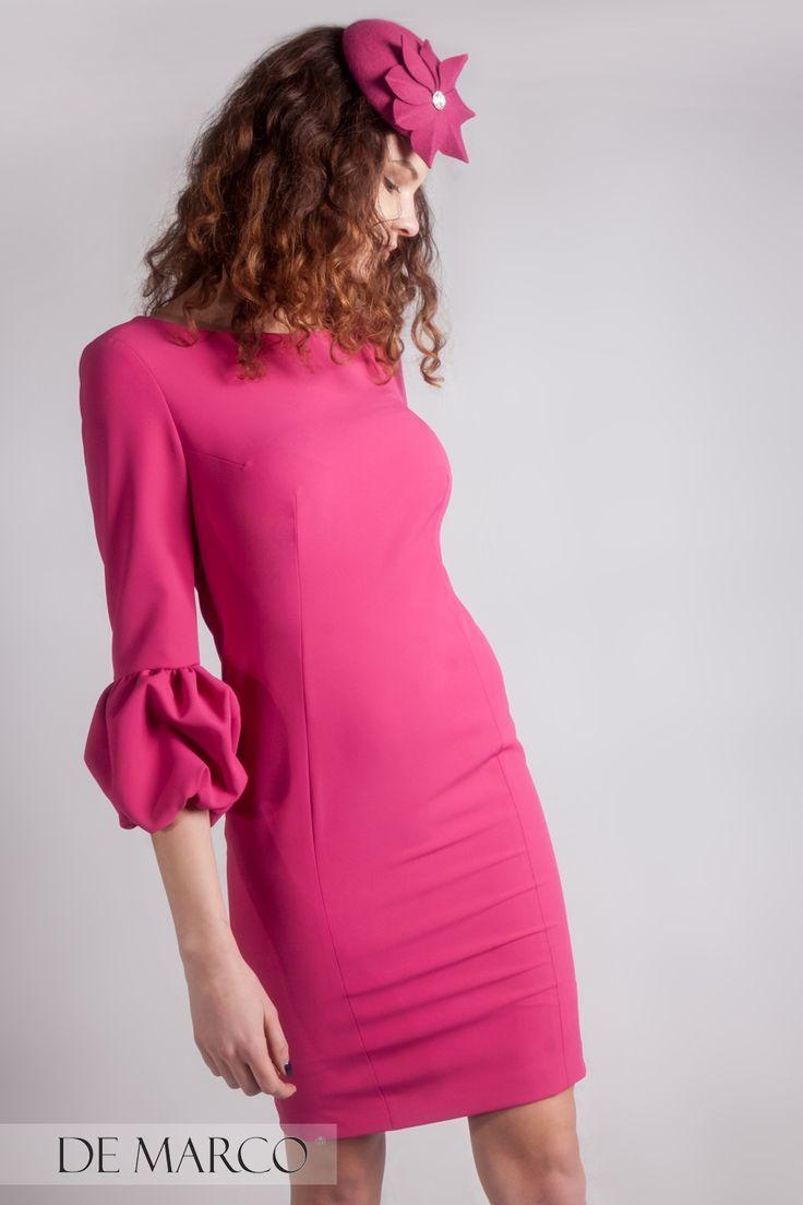 Różowa sukienka z De Marco nakrycie głowy Margaret Brand